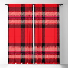 Argyle Fabric Plaid Pattern Red and Black Colors Blackout Curtain