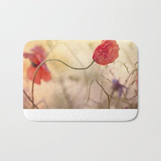 Poppy flower and sunset Bath Mat