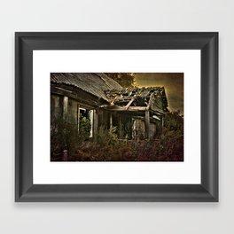 Old abounded farmhouse in Latvia Framed Art Print