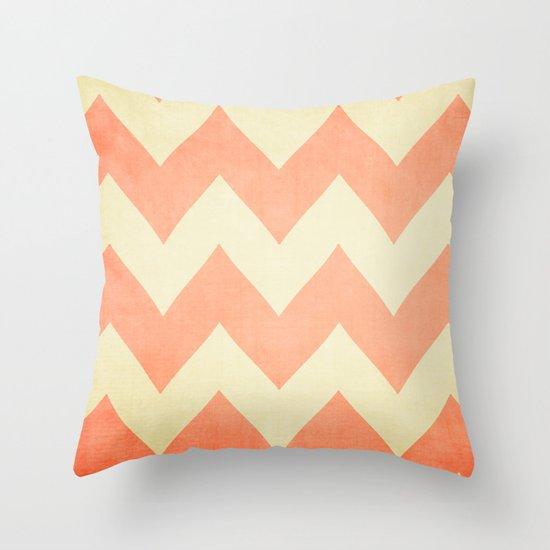Fuzzy Navel - Peach Chevron Throw Pillow