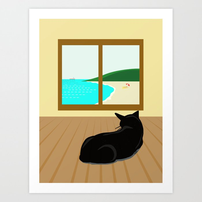 Landscape and cat Art Print