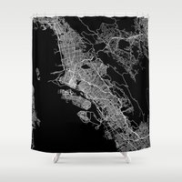 oakland Shower Curtains featuring oakland map california by Line Line Lines