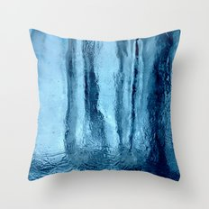 Ice with blue tonnes in a cold winter Throw Pillow