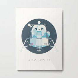 Apollo 11 Lunar Lander Module - Text Charcoal Metal Print