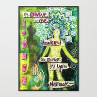 namaste Canvas Prints featuring Namaste by Jessica Beth Sporn