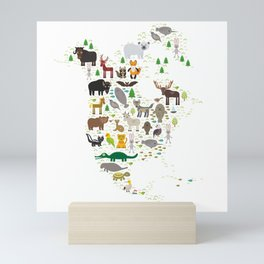 Map of North America with Animals bison bat manatee fox elk horse wolf partridge seal Polar bear Mini Art Print