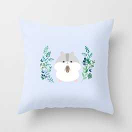 Furball in the garden Throw Pillow
