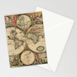 World Map 1689 Stationery Cards