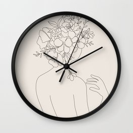 Woman with Flowers Minimal Line II Wall Clock