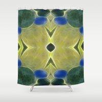 tarot Shower Curtains featuring Tarot card  VIII - Adjustment by Lucia