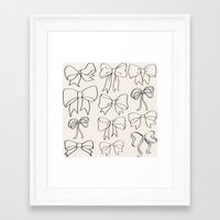 bows Framed Art Prints featuring bows by courtneeeee