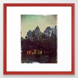 Sunset in the woods Framed Art Print