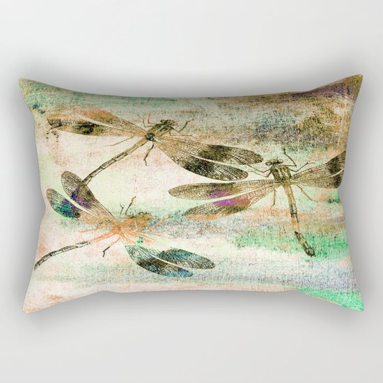 Mauritius Vintage Dragonflies QR Rectangular Pillow