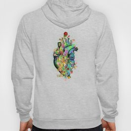 Flowers colorful heart watercolor Hoody