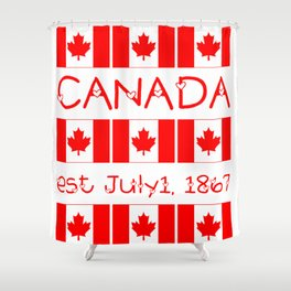 Canada Day Maple Leaf Pattern Canadian Flag Shower Curtain