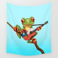 chile Wall Tapestries featuring Tree Frog Playing Acoustic Guitar with Flag of Chile by Jeff Bartels