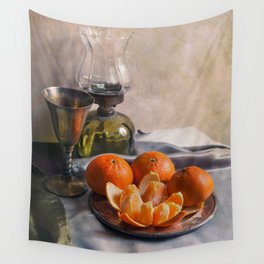 Still life with fresh tangerines Wall Tapestry