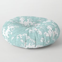 Traditional Hand Drawn Japanese Wave Ink Floor Pillow
