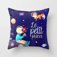 le petit prince Throw Pillows featuring Le petit prince by LadyAlouette