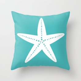 Starfish (White & Teal) Throw Pillow