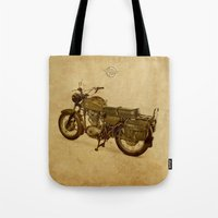 ducati Tote Bags featuring Ducati vintage background by Larsson Stevensem