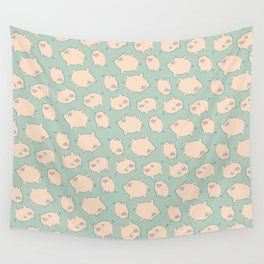 small pigs (teal) Wall Tapestry