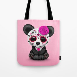 Pink Day of the Dead Sugar Skull Panda Tote Bag