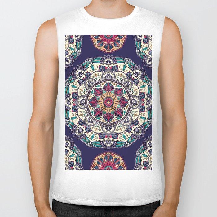 Colorful Mandala Pattern 007 Biker Tank