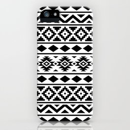 Aztec Essence Ptn III Black on White iPhone Case