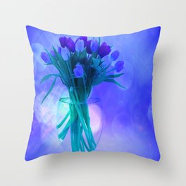 A Blue Bloom for Spring Throw Pillow