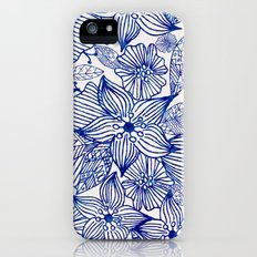 Hand painted royal blue white watercolor floral illustration iPhone (5, 5s) Slim Case