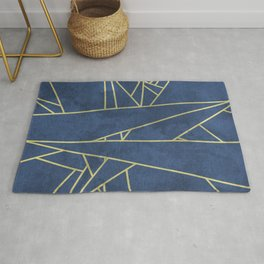 Abstracted Golden Lines With Deep Navy Texture Rug