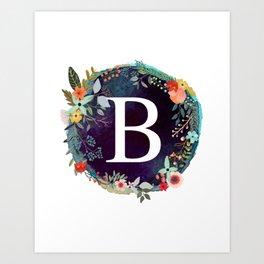Personalized Monogram Initial Letter B Floral Wreath Artwork Art Print