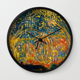 Colorful Summer Fireworks in Nice, France landscape by Nicolai Tarkoff Wall Clock