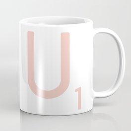 Pink Scrabble Letter U - Scrabble Tile Art and Accessories Coffee Mug