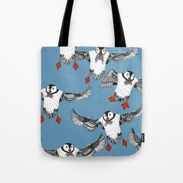 Atlantic Puffins blue Tote Bag