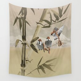 Spring Sparrows in Bamboo Tree Wall Tapestry