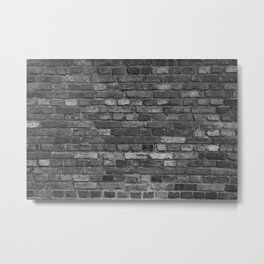Build the wall brick wall texture vintage with gray black bricks pattern Metal Print