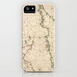 Vintage Map of The English Channel (1672) iPhone Case
