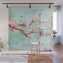 Its All Over Again - Romantic Spring Cherry Blossom Butterfly Illustration on Teal Watercolor Wall Mural