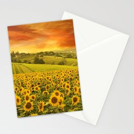Red sunset over the rolling sunflowers and sunflower fields of Tuscany, Italy Stationery Cards