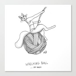 WRECKING BALL OF YARN Canvas Print