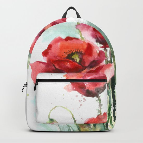 Watercolor red poppies flowers Backpack