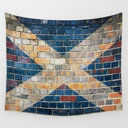 Scotland flag on a brick wall Wall Tapestry