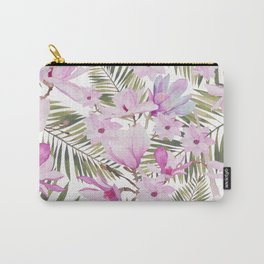 Tropical hand painted green magenta watercolor floral Carry-All Pouch