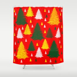 green gold silver Christmas trees on red background Shower Curtain