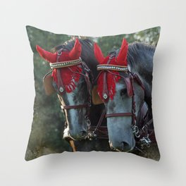 Carriage horses Throw Pillow