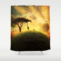 africa Shower Curtains featuring AFRICA by J ō v