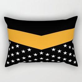 Dynamic Style, White Stars on Black & Orange Rectangular Pillow