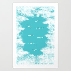 Seabirds and Clouds Art Print